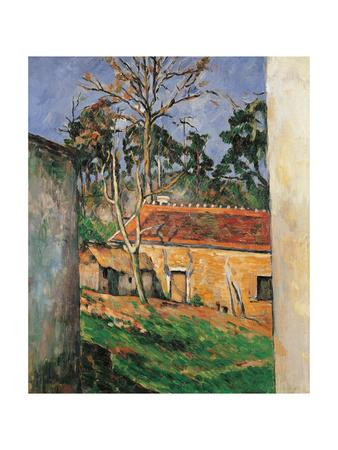 Farm Courtyard in Auvers Lámina giclée por Paul Cézanne