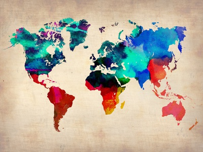 World Map in Watercolor Posters by  NaxArt
