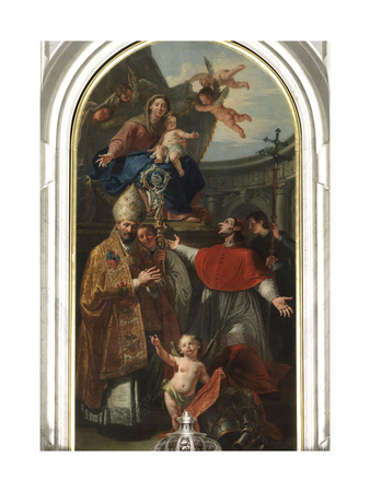 Madonna and Child with St. Martin and St. Charles Borromeo Giclee Print by Francesco Fontebasso