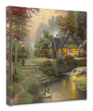 Stillwater Cottage Stretched Canvas Print by Thomas Kinkade