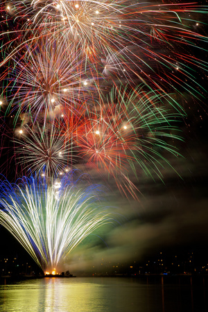 Poulsbo Fireworks III fireworks display photograph by Kathy Mahan