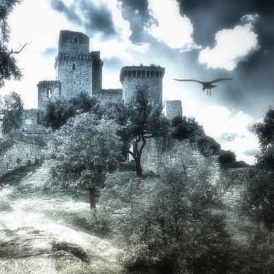Castle in Moonlight, Assisi, Italy Photographic Print by Dolores Smart