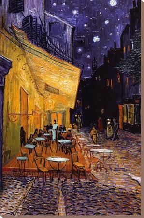 Caféterras bij nacht Kunst op gespannen canvas van Vincent van Gogh