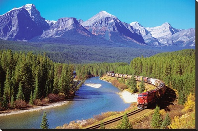 Train In The Rockies Stretched Canvas Print