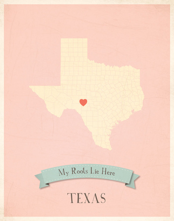 Texas My Roots Map, pink version (includes stickers) Prints by Rebecca Peragine