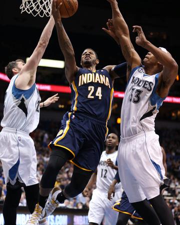 Feb 19, 2014, Indiana Pacers vs Minnesota Timberwolves - Paul George Photo