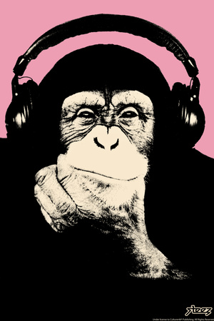 Headphone Chimp - Pink Posters by  Steez