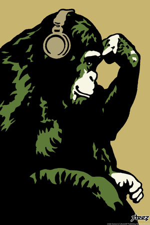 Monkey Thinker - Gold Plastic Sign by  Steez