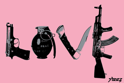 Love (Weapons) Pink Plastic Sign by  Steez