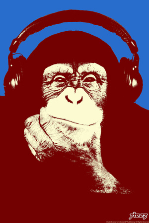 Headphone Chimp - Red Plastic Sign by  Steez