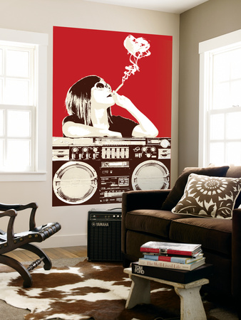 Boombox Joint - Red Wall Mural by  Steez