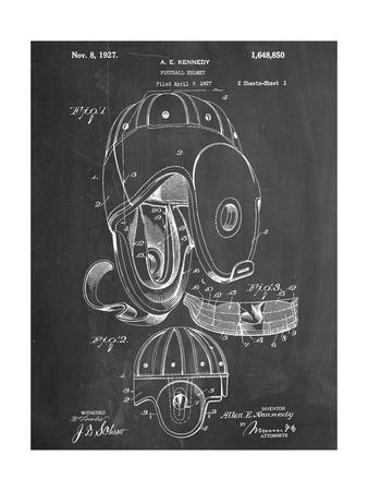Football Leather Helmet Patent Affischer