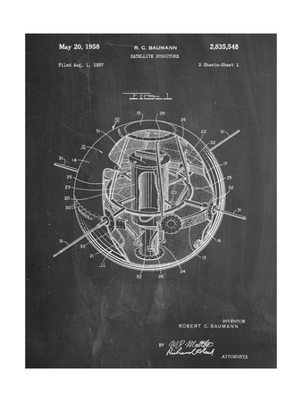 Space Station Satellite Patent Poster