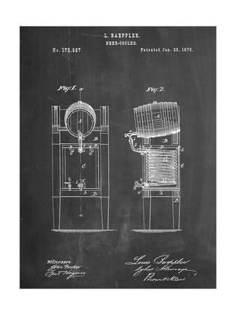 Beer Cooler Patent 1876 Posters