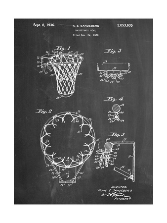 Basketball Goal Patent 1936 Art