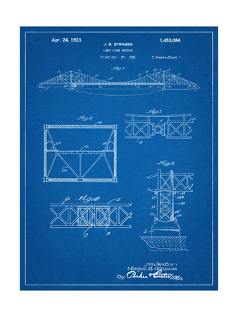 Golden Gate Bridge Patent, Long Span Bridge Posters