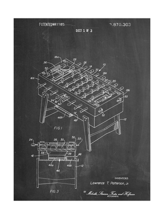 Foosball Table Patent Posters