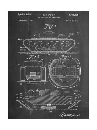 Self Digging Military Tank Patent Print
