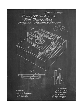 Type Writing Machine Patent Posters