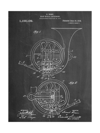 French Horn Instrument Patent Art