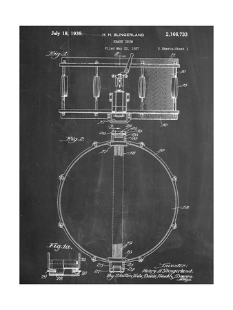 Snare Drum Instrument Patent Poster
