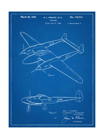P-38 Airplane Patent Poster