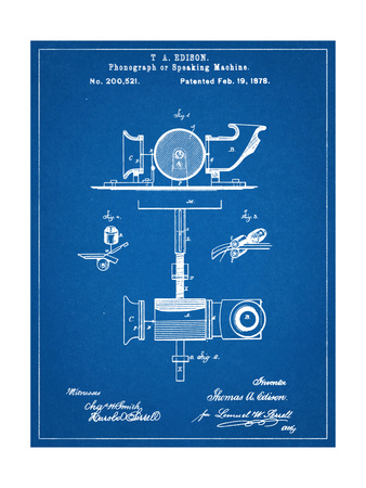 Thomas Edison Speaking Telegraph Patent Poster