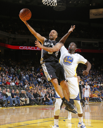 Mar 22, 2014, San Antonio Spurs vs Golden State Warriors - Tony Parker, Draymond Green Photo by Rocky Widner