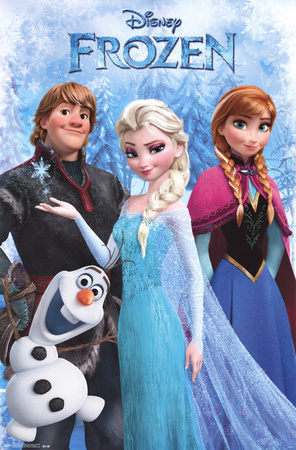Frozen movie poster with Anna, Olaf, Elsa and Kristoff; one of Disney's greatest films of all time