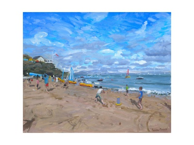 Beach cricket, abersoch Bridgeman Library summer scenes fine art print by Andrew Macara