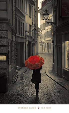 Red Rain Poster by Stefano Corso