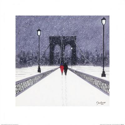 Nighttime Stroll Across Brooklyn Bridge - New York Posters af Jon Barker