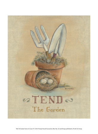 Garden Series in Linen IV Prints by Wendy Russell
