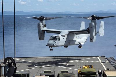 An MV-22 Osprey Lands on the Flight Deck of USS Germantown Photographic Print