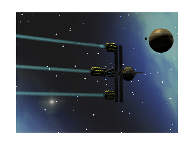 A Starship from Earth with Ion Drive Propulsion Explores the Cosmos Print!