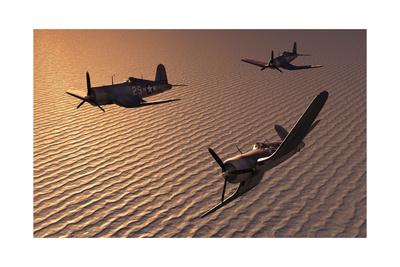 American Vought F4U Corsair Aircraft in Flight During World War Ii Print