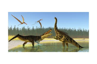 A Kaprosuchus Reptile Confronts an Agustinia Dinosaur Posters