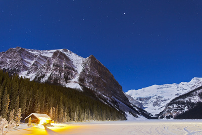 Lake Louise on a Clear Night in Banff National Park, Alberta, Canada Photographic Print