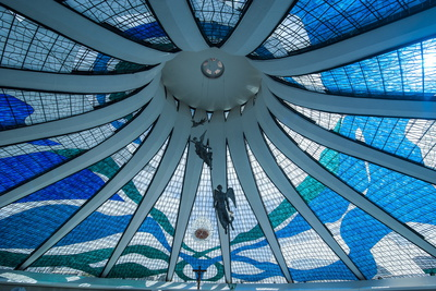 Stained Glass in the Metropolitan Cathedral of Brasilia Photographic Print by Michael Runkel