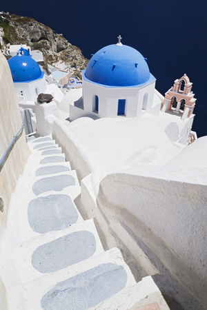 Church with Blue Dome with View of the Aegean Sea, Oia, Santorini, Cyclades, Greek Islands Photographic Print by Markus Lange