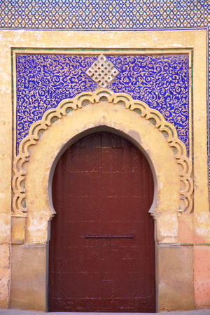 Gate to Royal Palace, Meknes, Morocco, North Africa, Africa Photographic Print by Neil Farrin