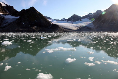 Brash Ice from the Waggonbreen Glacier, Magdalenefjord, Svalbard Photographic Print by David Lomax