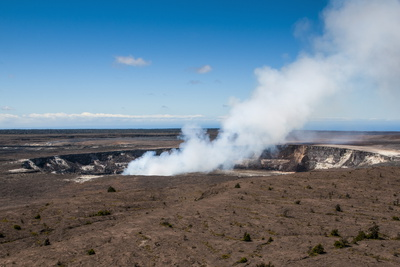 Smoking Kilauea Summit Lava Lake in the Hawaii Volcanoes National Park Photographic Print by Michael Runkel!