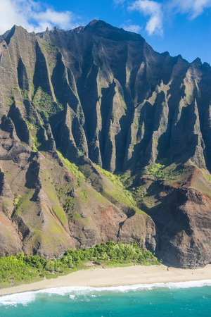 Aerial of the Rugged Napali Coast, Kauai, Hawaii, United States of America, Pacific Photographic Print by Michael Runkel