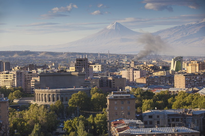 View of Yerevan and Mount Ararat from Cascade, Yerevan, Armenia, Central Asia, Asia Photographic Print by Jane Sweeney