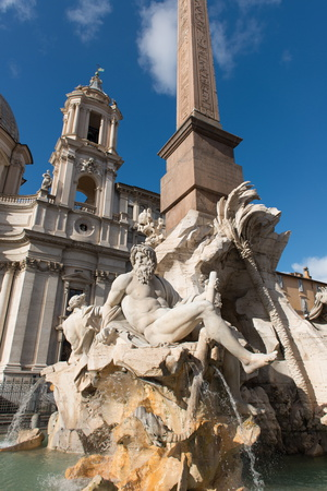 Saint Agnese in Agone Church and the Fountain of the Four Rivers Photographic Print by Carlo Morucchio