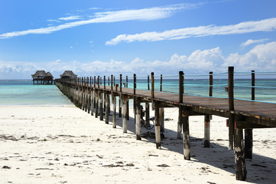 Hotel Jetty, Bwejuu Beach, Zanzibar, Tanzania, Indian Ocean, East Africa, Africa Photographic Print by Peter Richardson