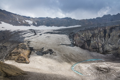 Blue Glacial Water in a Glacier on Mutnovsky Volcano, Kamchatka, Russia, Eurasia Photographic Print by Michael Runkel