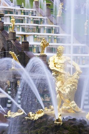 Samson Fountain, Peterhof Grand Cascade, Petrodvorets, St. Petersburg, Russia, Europe Photographic Print by Peter Barritt