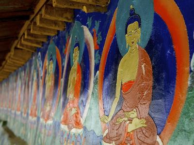 Buddhist Wall Paintings at Tashilhunpo (Tashilunpo) Monastery Photographic Print by Simon Montgomery